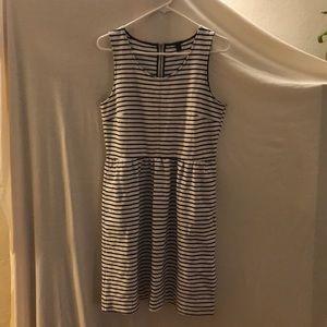 J. Crew Size 10 Navy White Stripe Stretch Dress